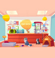 pet shop with home animals petshop supermarket vector image vector image