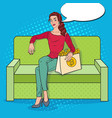 pop art woman with shopping bag full of bitcoin vector image vector image