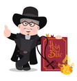 priest with a large bible cartoon characters vector image
