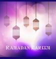 ramadan kareem background with hanging lanterns vector image vector image