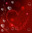 red heart bubbles valentines card background vector image vector image