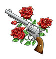 revolver with rose flowers drawn in vintage style vector image