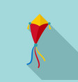 ribbon kite icon flat style vector image