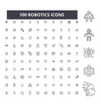 robotics editable line icons 100 set vector image vector image
