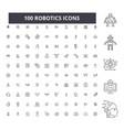 robotics editable line icons 100 set vector image vector image