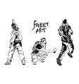 set of graffiti artists collection street art vector image vector image