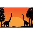 Silhouette of dinosaur brachiosaurus with orange vector image