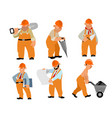 six builders set vector image vector image