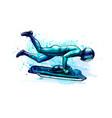 skeleton from splash watercolors hand drawn vector image