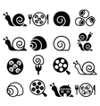 Snails French snail meal - escargot icons set vector image vector image