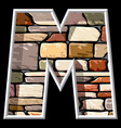stone letter M vector image vector image