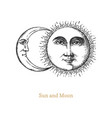 sun and moon hand drawn in engraving style vector image vector image