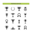 trophy icons set on a white background vector image vector image
