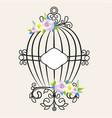 vintage bird cage decorated with flowers vector image vector image