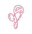 vintage pink monoline flower with heart vector image vector image