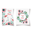 wedding save date floral label fowers ornament vector image vector image