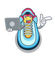 with laptop classic sneaker character style vector image