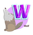 wolf animal children alphabet vector image vector image