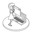 woman on internet black and white vector image