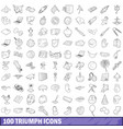 100 triumph icons set outline style vector image vector image