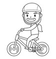 a girl playing on her bike character black vector image vector image