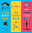 air drone color drone banner vecrtical set vector image vector image