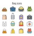 bag icon set in thin line stylebag icon set vector image vector image