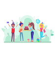 birthday party with friends and celebration vector image