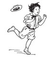 boy hopping vintage vector image vector image
