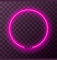 bright pink neon round frame template vector image