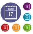 calendar with date of march 17 icons set vector image