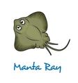 Cartoon manta ray vector image vector image