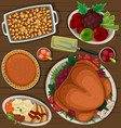 cartoon thanksgiving dish combination top view vector image vector image