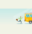 caucasian latecomer man running for the bus vector image vector image