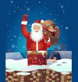 christmas santa claus cartoon waving her vector image vector image