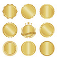 collection modern gold circle metal badges vector image vector image