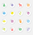 colorful flat icon set 7 on white circle button wi vector image vector image