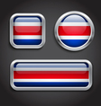 Costa Rica flag glass buttons vector image vector image