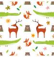 creative cute wild animals pattern vector image