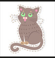 cute cat cartoon flat sticker or icon vector image vector image