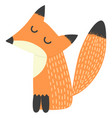 cute fox with closed eyes isolated on white vector image