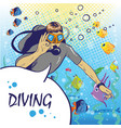 diver under water with aqualung pop art style vector image vector image