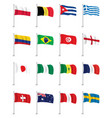 flags icons set isolated wave flags vector image
