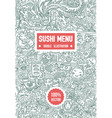 hand drawn sketch of doodle sushi menu vector image