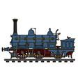 historical blue steam locomotive vector image vector image