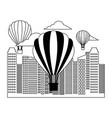hot air balloons city urban buildings vector image