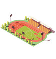 isometric low poly athletics stadium vector image vector image