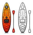 kayak cartoon isolated design vector image vector image