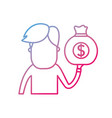 line man with bag cash money in the hand vector image vector image
