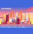 los angeles city skyline architecture waterfront vector image vector image